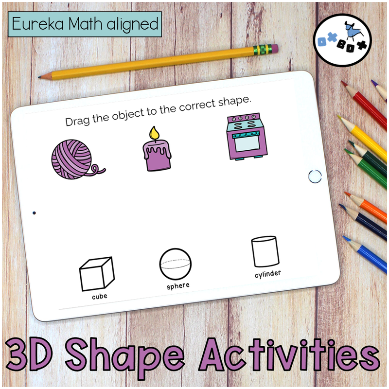 Picture of an ipad with a virtual learning activity for kindergarten math matching 3d shapes to real life objects.