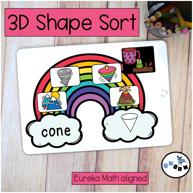Picture of an ipad with a virtual learning activity for kindergarten math sorting 3d (solid) shapes.