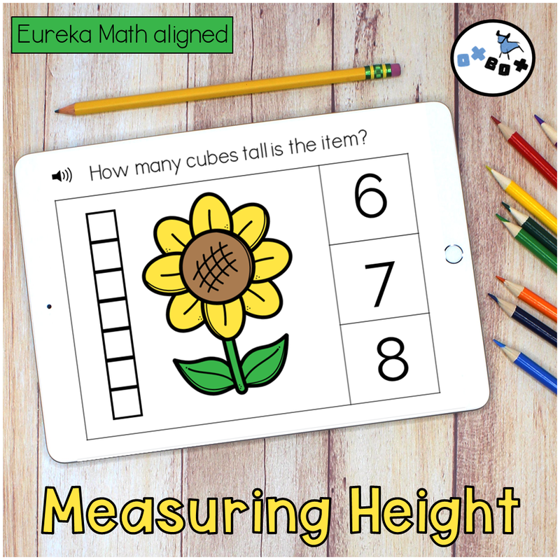 Kindergarten math activity on an ipad for distance learning where students measure the length and height of objects.