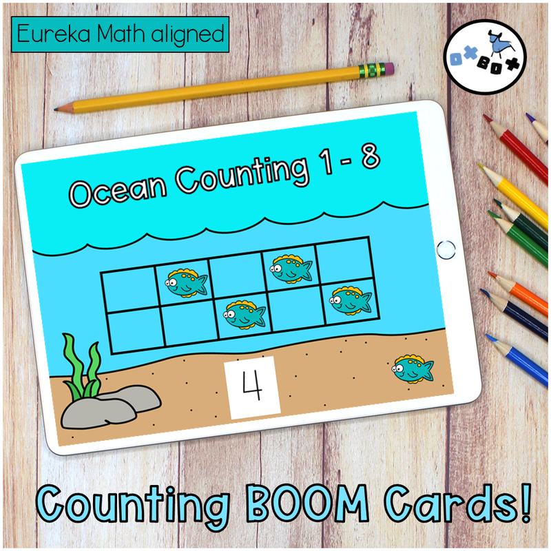 Picture of a fish counting activity to 8 on an ipad for virtual learning.