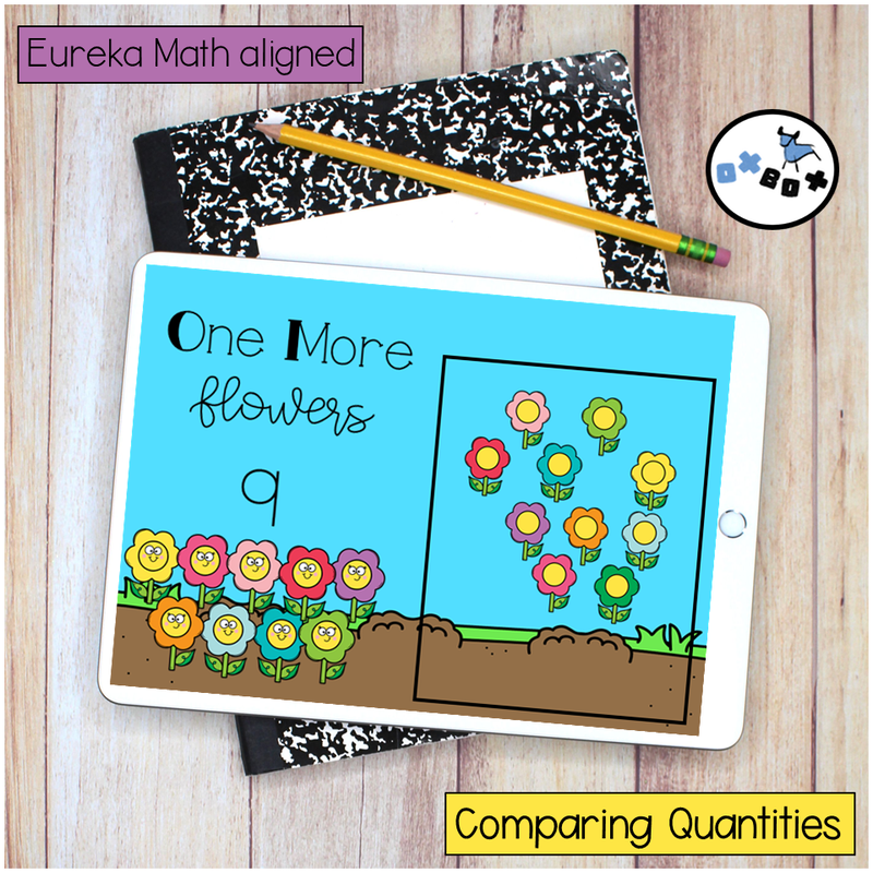 Picture of a flower themed math activity for finding sets of one more on an ipad for virtual learning.